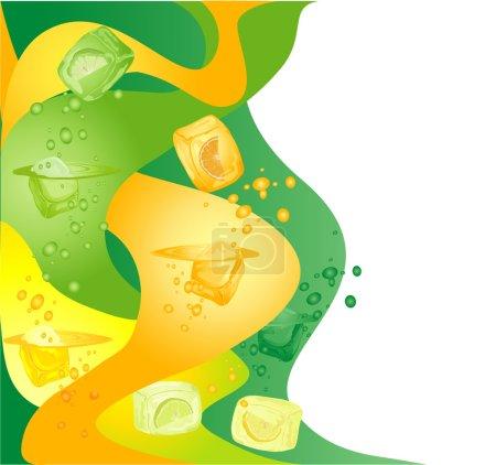 Illustration pour Fond abstrait avec des glaçons d'agrumes  . - image libre de droit