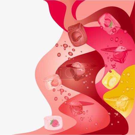 Illustration pour Fond abstrait avec des fruits rouges et des glaçons à la banane . - image libre de droit