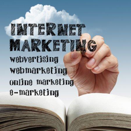 Photo pour Business main dessiner internet marketing - image libre de droit
