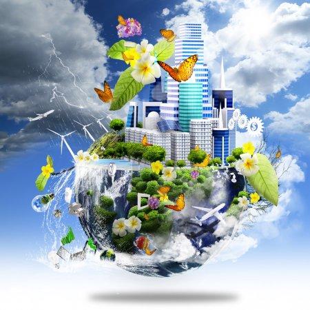 Photo pour La moitié de la terre couvre avec la ville et l'océan et des éléments différents sur sa surface comme concept d'entreprise verte - image libre de droit