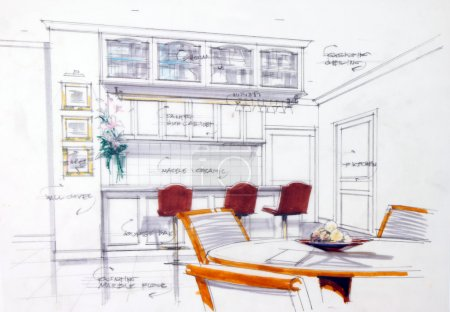 Photo pour Esquisse de design abstrait de l'intérieur de la cuisine - image libre de droit
