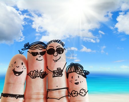 Photo for Finger family travels at the beach as concept - Royalty Free Image