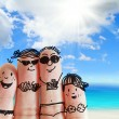 Finger family travels at the beach as concept...