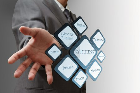 Photo for Business man shows success flow chart - Royalty Free Image
