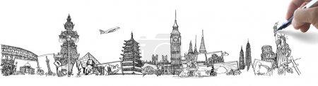 Photo pour Le voyage de rêve de dessin dans le monde entier dans un tableau blanc - image libre de droit