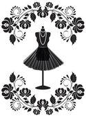 Módní karta s manekýn s náhrdelník a sukně v květinové fr