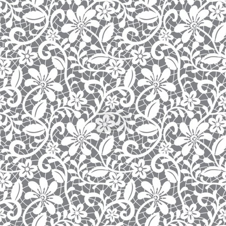 Photo for White seamless lace floral pattern on gray background - Royalty Free Image