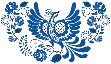 Photo pour Motif floral national russe - gzhel. Oiseau sur la branche avec feuilles, tourbillons et fleurs . - image libre de droit
