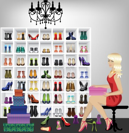 Blonde woman trying on shoes in boutique