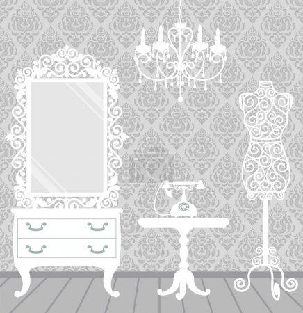 Woman room in vintage, boudoir style