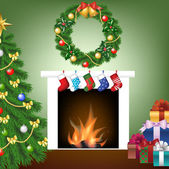 Tree fire place socks gifts and garland