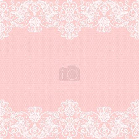 Illustration pour Invitation de mariage ou carte de vœux avec bordure en dentelle - image libre de droit