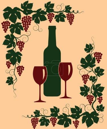 Illustration pour Arrière-plan avec un bouquet de raisins, bouteille et verre - image libre de droit