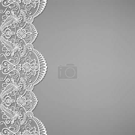 Illustration pour Salutations, carte d'invitation avec dentelle et ornements floraux - image libre de droit