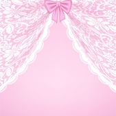 Template for wedding invitation or greeting card with lace curtains and bow