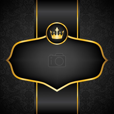 Illustration for Royal black background with golden frame and crown - Royalty Free Image
