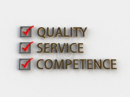 Quality, service, competence 3d