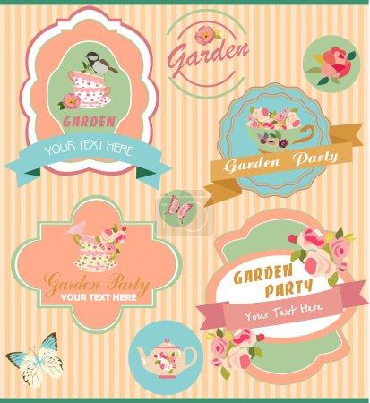 Illustration pour Lot d'étiquettes sur une Garden-Party - image libre de droit