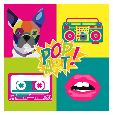 Illustration for Card with elements of pop art style - Royalty Free Image