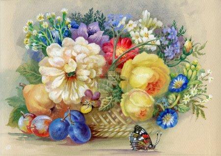 Photo pour Fleurs et fruits : fond aquarelle, belle fleur, illustration - image libre de droit