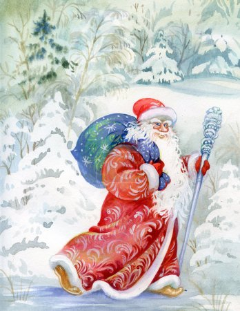 Photo for Russian Santa Claus in a snowy forest painted in watercolor - Royalty Free Image