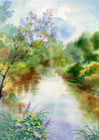 Photo pour Aquarelle paysage Collection : Fond de la vie du Village, illustration, carte - image libre de droit