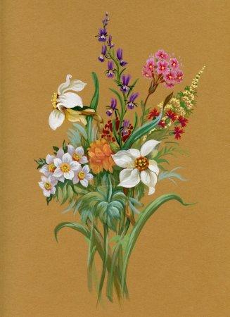 Photo pour Bouquet de printemps magnifique peint à l'aquarelle - image libre de droit