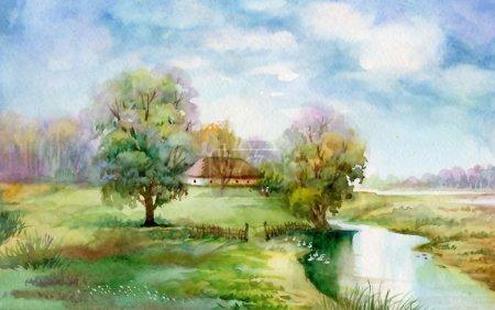 Photo pour Aquarelle paysage Collection : La vie de Village - image libre de droit