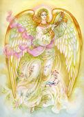 Watercolor Angel playing tamburine