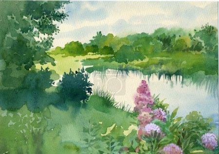 Photo pour Collection aquarelle paysage : Près de la rivière - image libre de droit