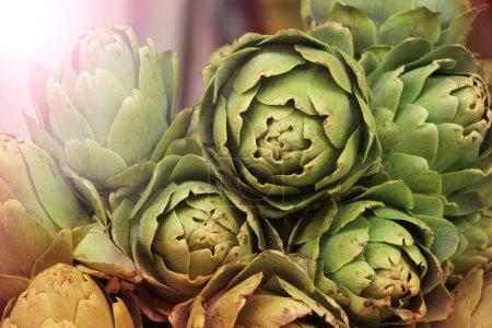 Fresh artichokes on a farmers market