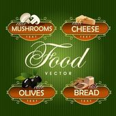 Food Vector Mushrooms cheese olives bread