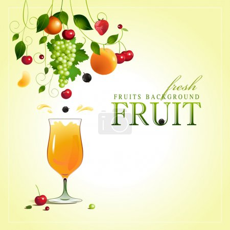 Illustration for Glass of juice. Ripe fruit. Vector - Royalty Free Image