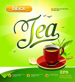 Cup of black tea with lemon on a bright background