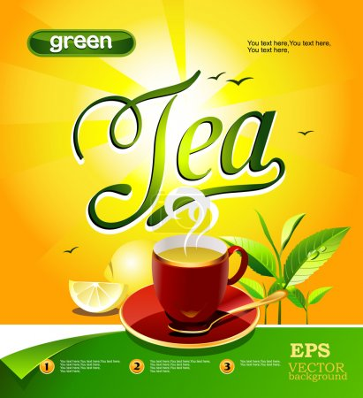 Cup of green tea with lemon on a bright background...