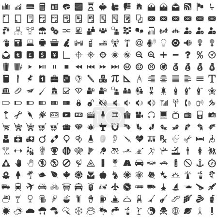 Illustration for 324 vector Icons for Web Applications. Web, design, media, shopping and many more. - Royalty Free Image