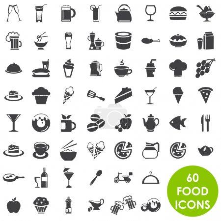Photo pour 60 Vecteur d'icônes alimentaires et boissons - image libre de droit