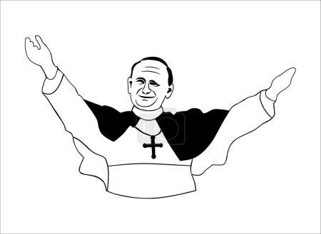 Illustration pour Pope. Sans gradients. Facile à changer de couleur . - image libre de droit