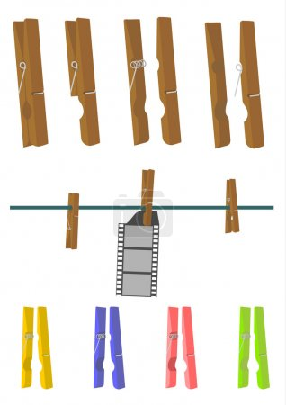Wooden clothes peg on a white background. Separate...