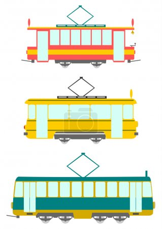 Set in a retro style trams on a white background....