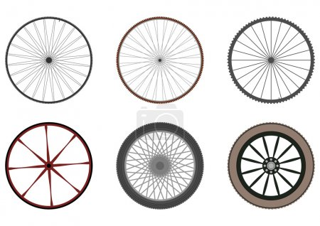 Set of six silhouettes of wheels with spokes on a ...