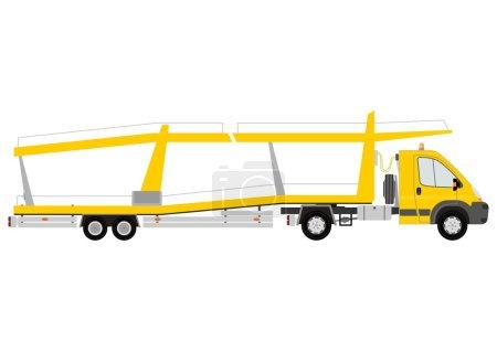 Illustration pour Silhouette de transporteur de voiture jaune sur fond blanc . - image libre de droit