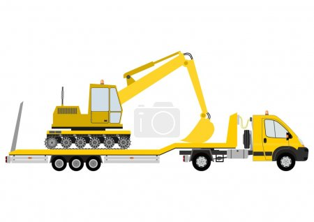 Truck with excavator