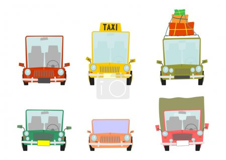 Illustration for Set of cartoon car front view on white background - Royalty Free Image