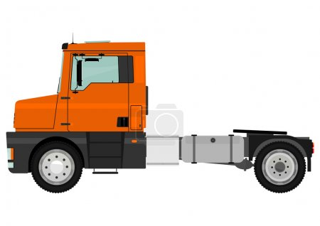 Illustration for Cartoon tractor unit isolated on a white background. Vector - Royalty Free Image