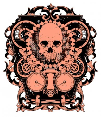 Illustration for Skull and wheels - Royalty Free Image
