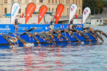 STOCKHOLM - AUG, 24, 2012: The start with swimming of the Mens ITU Wor