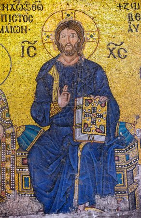 A Byzantine mosaic showing Jesus Christ is sitting on a throne decorated with jewels