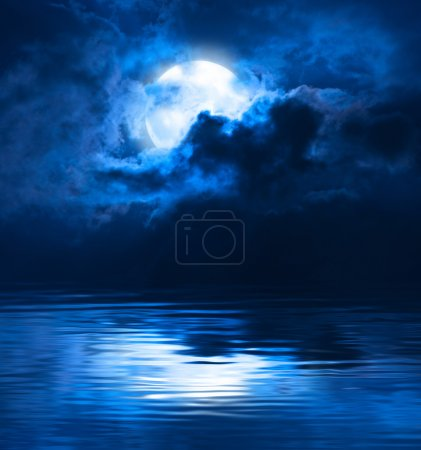 Photo for Dark Blue Night Full Moon Over Water - Royalty Free Image
