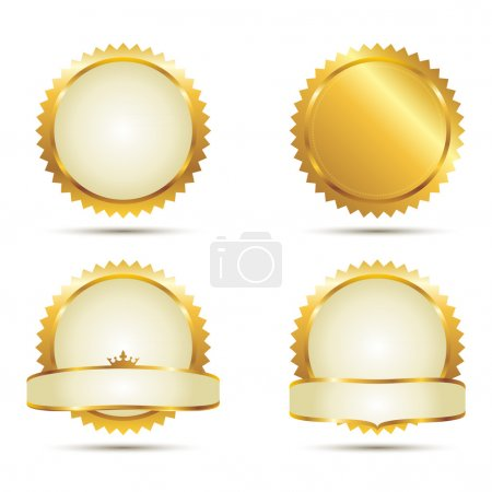Illustration for Vector Badges of Gold Seal Set - Royalty Free Image